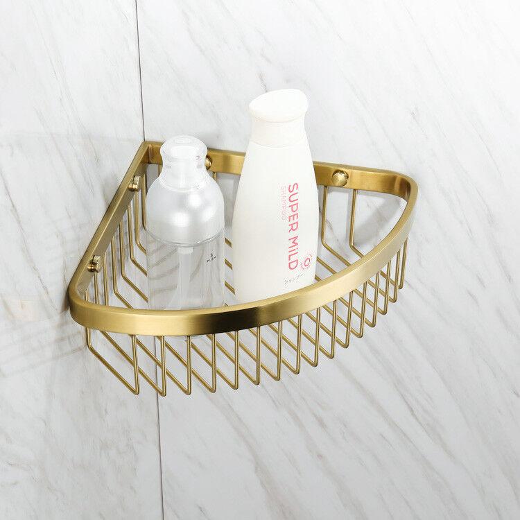 SUS304 Kitchen Storage Organize Shelf Rack Shower Caddy Corner Brushed Gold