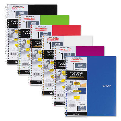 Five Star Wirebound Quadrille Notebook 11 X 8 12 100 Sheets Assorted 06190