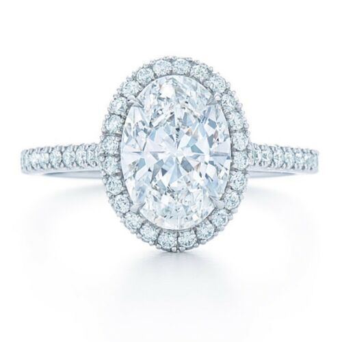 1.58 CARAT H VS2 GIA CERTIFIED OVAL CUT DIAMOND ENGAGEMENT RING SET IN PLAT 950