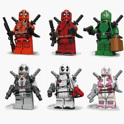 6 Sets MiniFigures Mini Deadpool Series Red Deadpool Gwen Gwenpool Blocks Toys