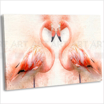 Flamingo Heart Canvas Print Framed Animal Wall Art Picture - Heart Framed Print