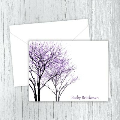 Purple Trees Note Cards, Personalized Stationery, Folded Note Cards