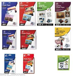 PHOTO-PAPER-12-TYPES-A4-7x5-6x4-GLOSS-MATT-CANVAS-INKJET-PRINTER