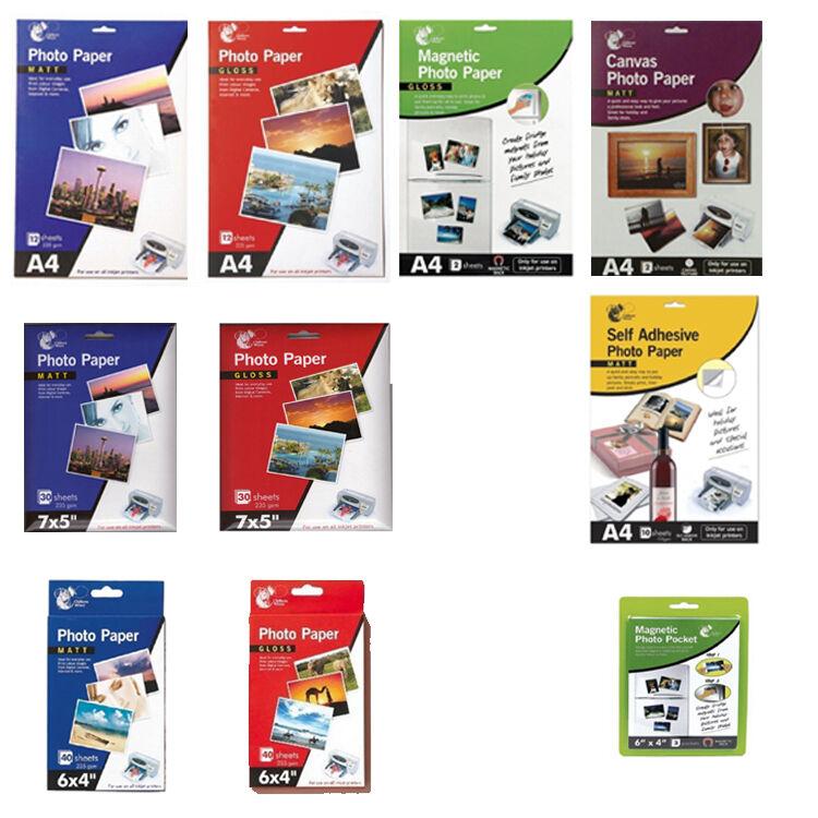 A4, 7x5, 6x4 - GLOSS, MATT, CANVAS PHOTO PAPER - INKJET PRINTER