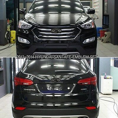 Matte Black Color H Logo F/R Emblems Set For 2013-2014 Hyundai SANTAFE