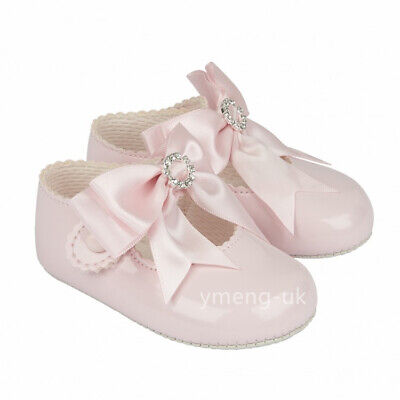Gorgeous Baby Girl Pink Big Bow Diamante Buckle Patent Pram Shoes/Soft material Baby Pink Patent Schuhe