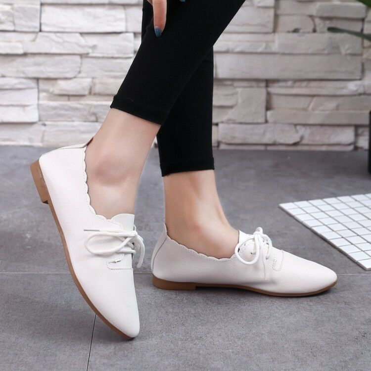 Aunimeifly Womens Autumn Flats Ladies Casual Solid Colors Pointed Toe Flat Wild Comfortable Shallow Work Shoes