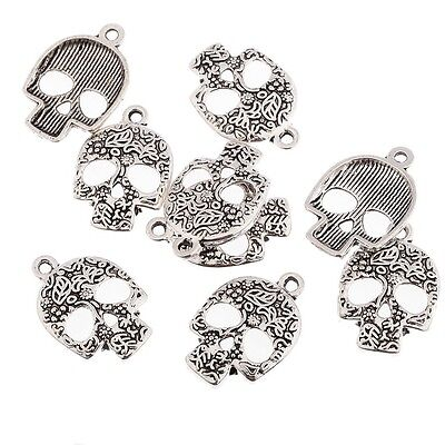 10pcs Skulls Halloween Beads Tibetan Silver Charms Pendant DIY Bracelet 20*15mm - Halloween 10