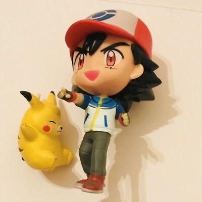 Large Ash Figure & Original NINTENDO TOMY Pikachu Pokemon vtg Toy