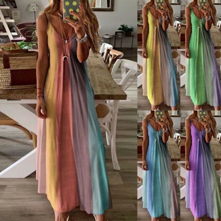 Women's Summer Gradient Long Rainbow Maxi Dress Ladies Boho Holiday Beach Party Clothing, Shoes & Accessories