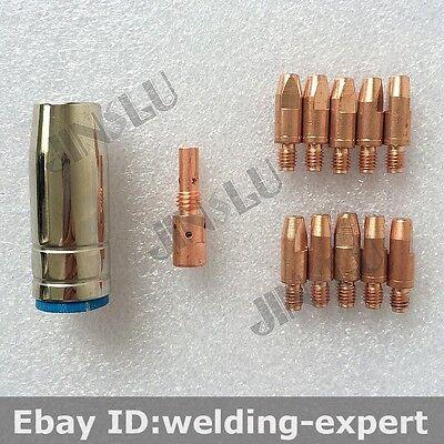 0.8 Mm Cucrzr Contact Tip Binzel Bw Mb25 25ak Kit Nozzle Tip Holder Mig Gun 12pk