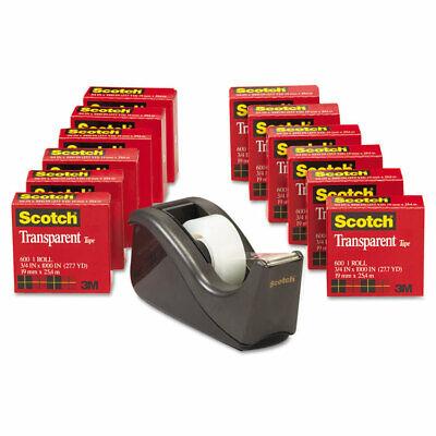 Scotch Transparent Tape Dispenser Value Pack 1 Core Transparent 12pack 600kc60