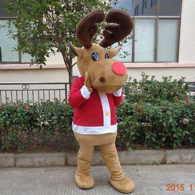 Cute Carnival Happy Deer Mascot Costumes Suit Dress Parade Birthday Cosplay Gift (Cute Deer Halloween Costume)