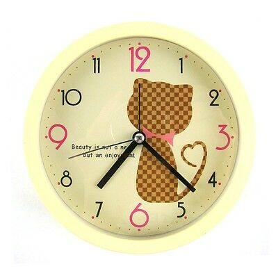 Quartz Non-Ticking Silent Desk/Wall Cat Alarm Clock : Yellow