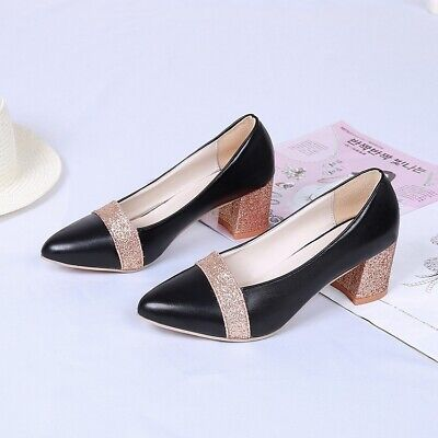 Women High Heel Shoes Casual Leather Pointed Toe Comfortable Heel Ladies Shoes ()