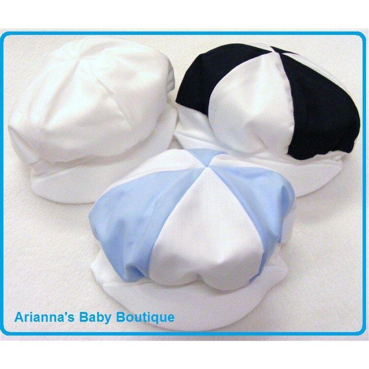 Baby Boys White / Blue / Navy Cotton Cap Hat - SUMMER Made in UK 0-6 MONTHS
