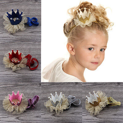 Baby Girl Crown Princess Hair Clip Solid Gold Yarn Glitter Lace Pearl Headband C