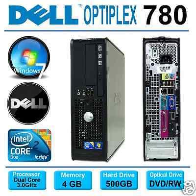 DELL OPTIPLEX 780 SFF PC ~ INTEL CORE 2 DUO 3.0GHz  ~ 500GB ~ 4GB ~ WINDOWS 7
