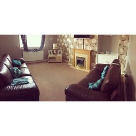 Both leather sofas one large 3 seater and one two seater