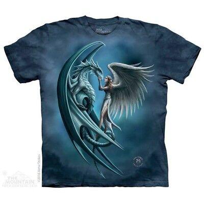 Angel & Dragon T-Shirt by The Mountain.  Fantasy Fairy Dinosaur Sizes S-5X NEW