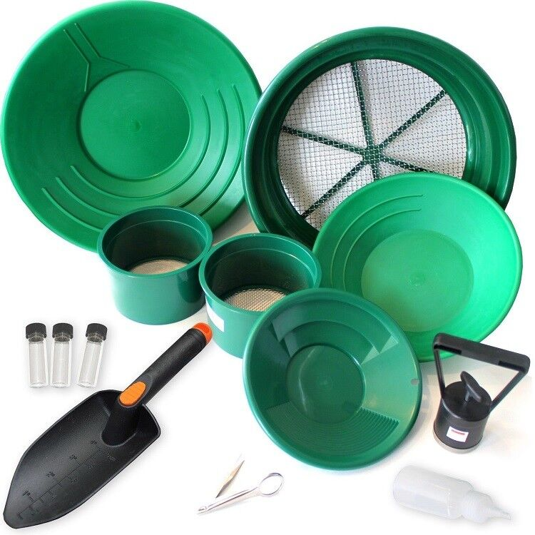 Delux Gold Panning Kit Small & Large Classifiers Pans Shovel Magnet Prospecting