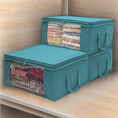 3PACK Stoff faltbare Aufbewahrungsboxen Kleidung Kleiderschrank Veranstalter Tas