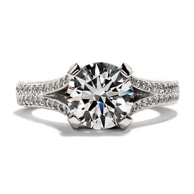 2.18ct GIA Certified Round Center Vintage Style Pave Engagement Ring 18K Gold