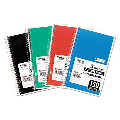 4-pack Mead Spiral Bound Notebooks College Rule 3-subject School Supplies Lot