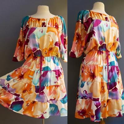 - The Ultimate Tropical Dress Watercolor Orchid Floral Print Dolman Ann Taylor S M