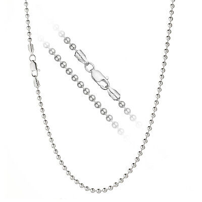 Solid 925 Sterling Silver 3mm Italian Ball Bead Chain Dog Tag Necklace ALL SIZES