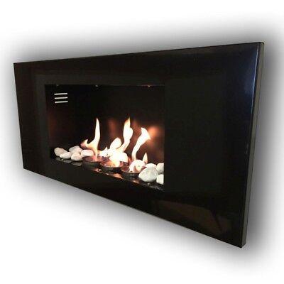 Gel fireplace Ethanol Fireplace Roma Black incl. accessories & 20 Decostones