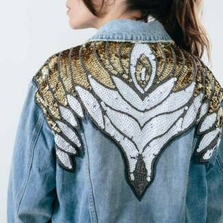 Free People Glam Embellished Denim Jacket Size S Brand New