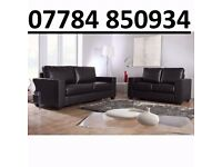 LEATHER SOFA SET 3+2 AS IN PIC black or brown New