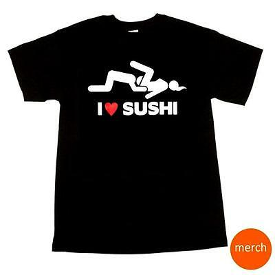 I Love Sushi Adult Dirty Funny Bachelor Party Humor Black Cotton T-Shirt Tee - Bachelor Party Shirts