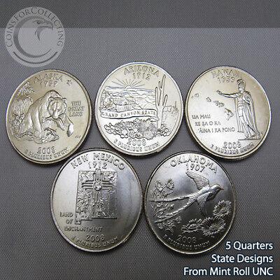 - 2008-D WASHINGTON STATE QUARTER SET DENVER - 5 Designs from Mint Rolls UNC