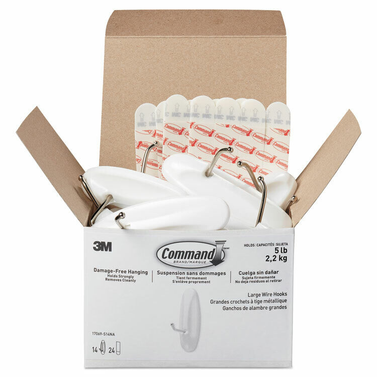 Command General Purpose Hooks  Metal  White  5 lb Cap  14 Hooks and 24 Strips