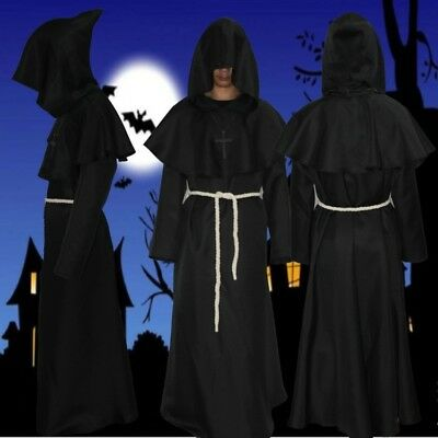 Exorcism Halloween Costumes (Middle Ages Renaissance Monks pastor Robe exorcism Friar Halloween)