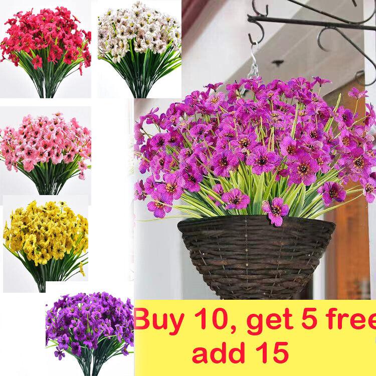 Home Decoration - Artificial Flowers Fake Bouquet Home Decor Plastic Garden Outdoor Plant Violet