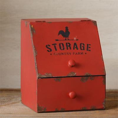 New Primitive Rustic COUNTRY FARM STORAGE Rooster Red Box General Store Bin