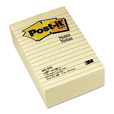 Post-it Notes Original Pads In Canary Yellow Lined 4 X 6 100-sheet 5pack 6605pk
