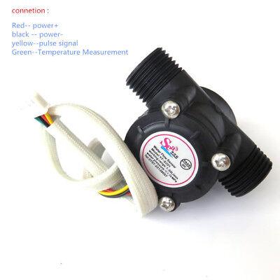 G12 Water Flow Meter Sensor Hall Flowmeter With Temperature Probe 1-30lmin
