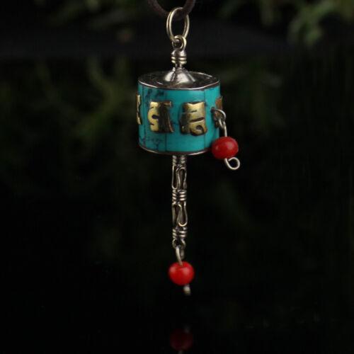 Tibetan Sterling Silver Turquoise Golden Mantra Om Mani Prayer Wheel Pendant