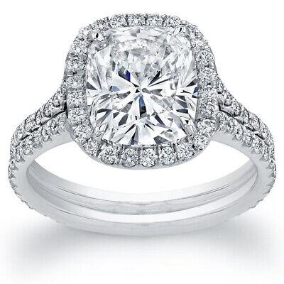 2.90ct GIA Cushion Diamond Halo Pave Split Shank Engagement Ring J/SI1 18K Gold