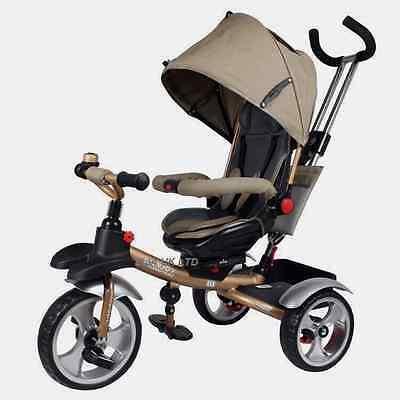 2017 Smart Design 4-in-1 Children Tricycle Kids Trike 3 Wheel Bike Parent {Gold}