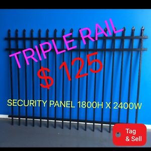 TOUGH FENCE SECURITY TRIPLE RAIL BLACK POWDERCOATED 1800HX2400W Salisbury South Salisbury Area Preview