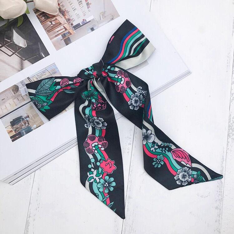 Floral Pattern Black Silk Twilly Scarf Handbag purse handle