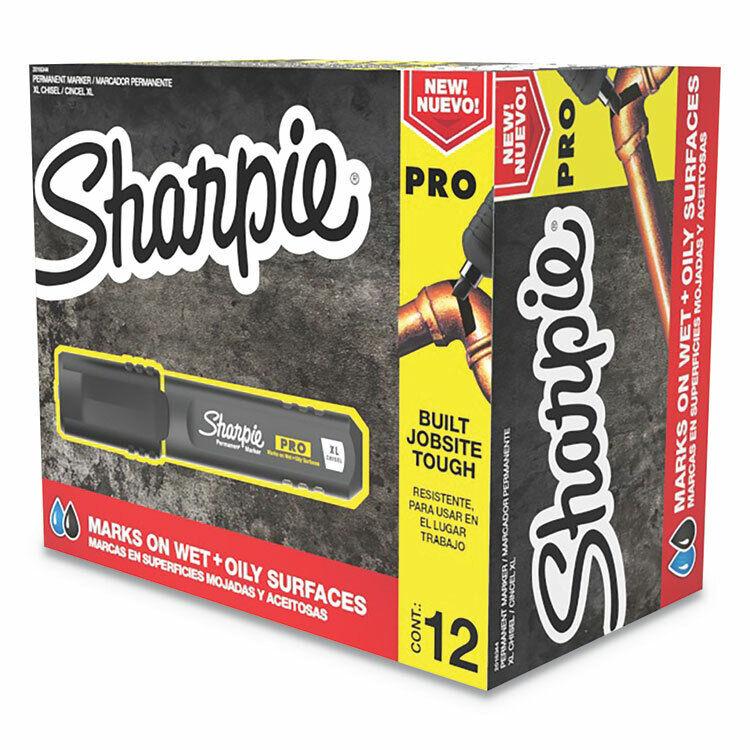 Sharpie® Pro Permanent Marker, Broad XL Chisel Tip, Black, Dozen 2018344