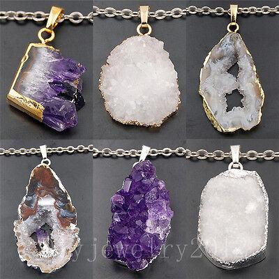 Natural Druzy Quartz Agate Amethyst Geode Gemstone Pendant Silver Gold (Druzy Geode Agate Pendant)