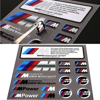 16x M Power Color Styling Emblem Badge M Sports Logo Car Sticker For All BMW