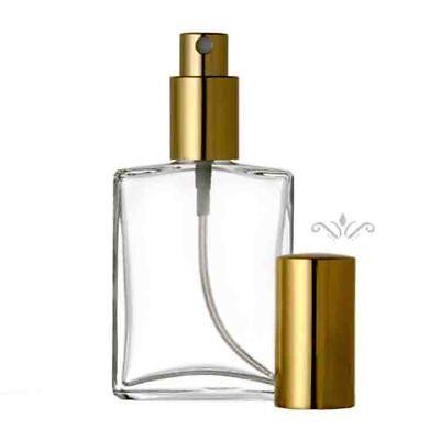 REFILLABLE PERFUME SPRAY BOTTLE EMPTY GLASS ATOMIZER  FLAT SHAPE 1 OZ. / 2 OZ.  Fragrance 1 Oz Spray Bottle